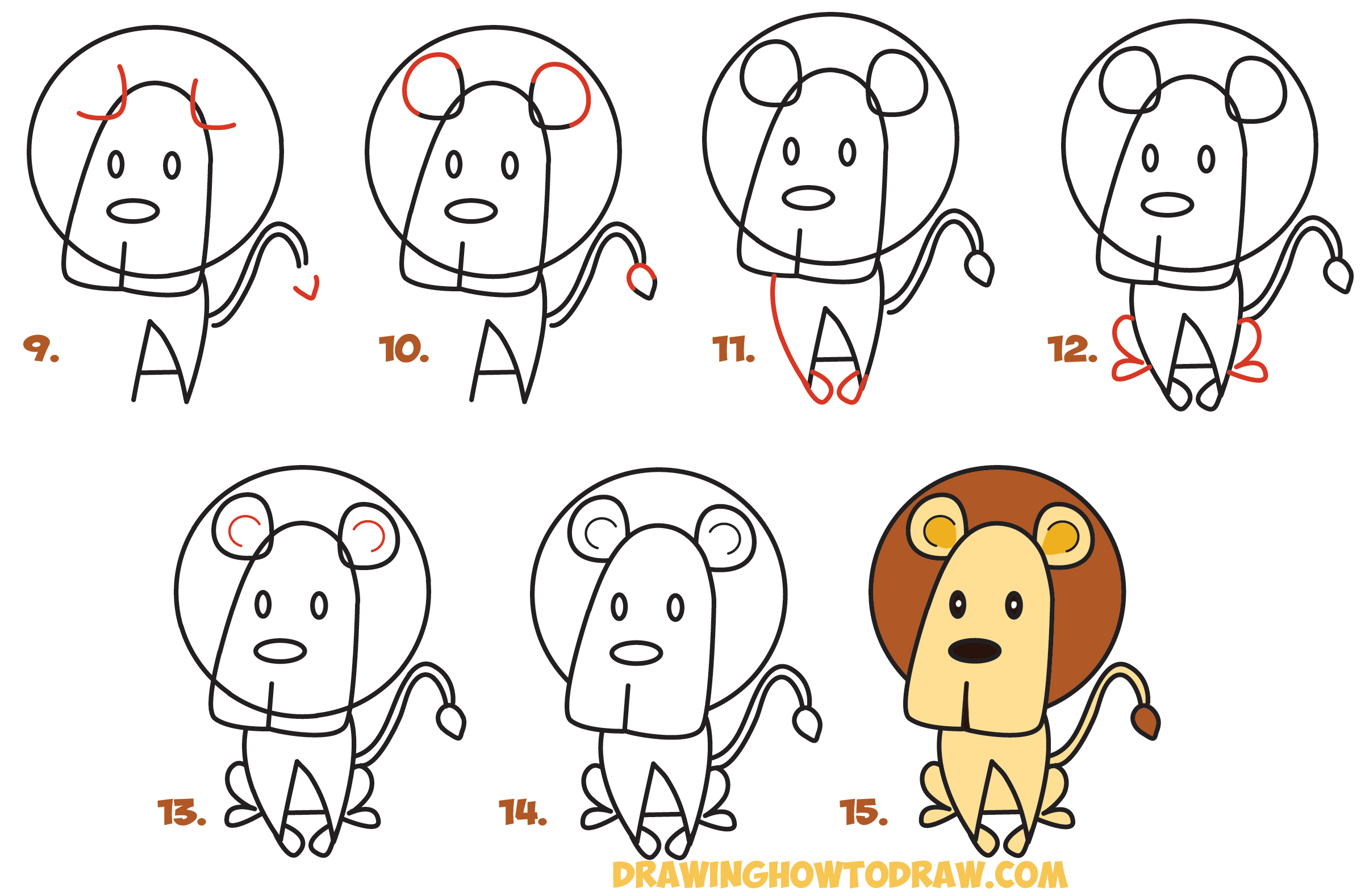 How to draw cartoon lion from the word easy step by step for How to make cartoon drawings step by step