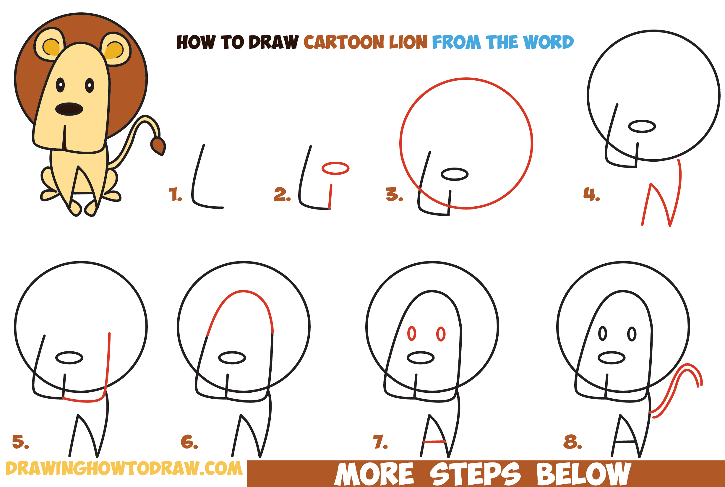 how to draw cartoon lion from the word easy step by step
