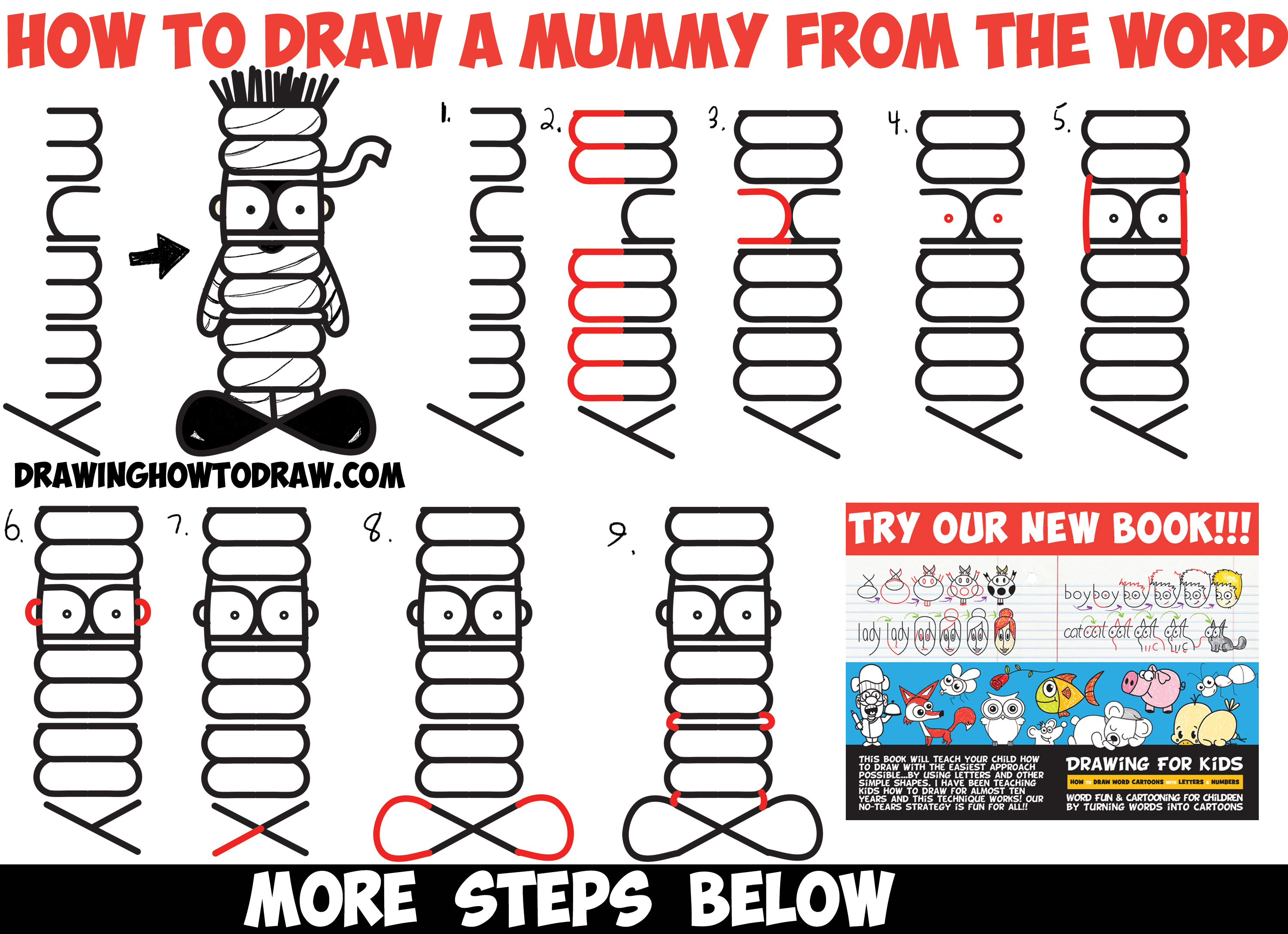 How to Draw a Cartoon Mummy Word Toon / Cartoon - Easy Step by Step Drawing Tutorial for Kids