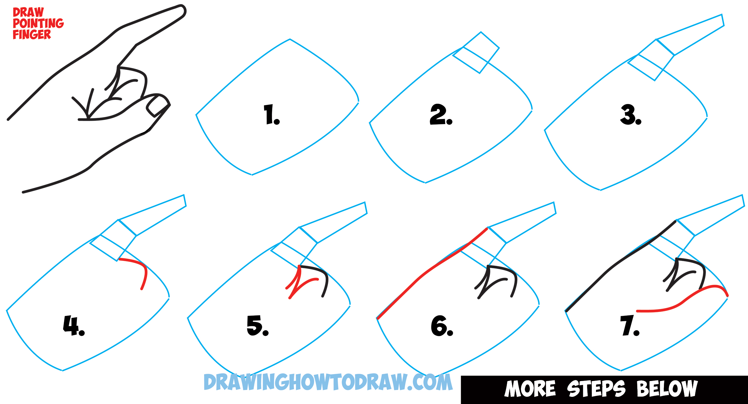 how to draw a pointing hand side view how to draw cartoon