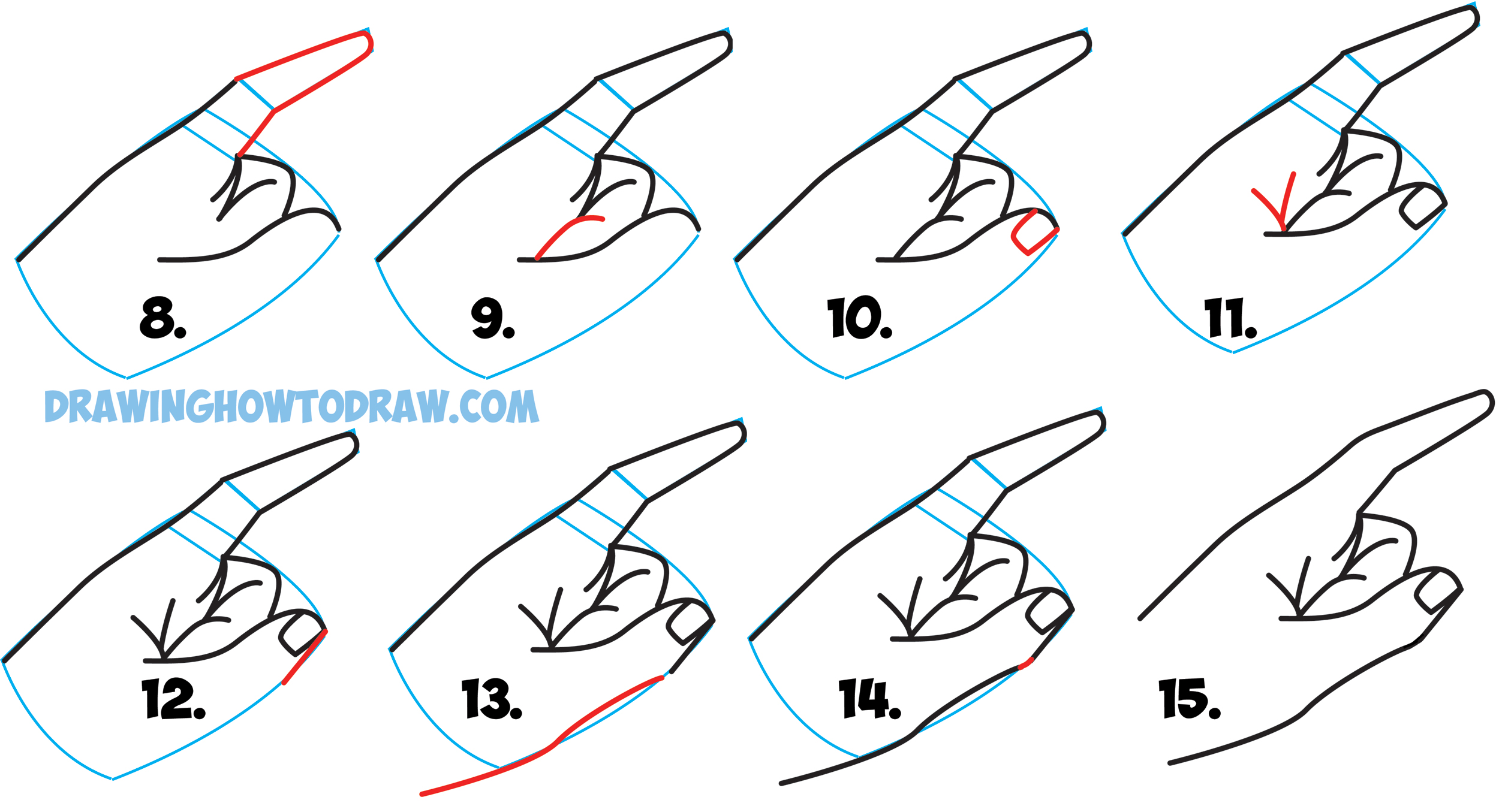 Learn How to Draw a Cartoon Pointing Hand Side View : How to Draw Pointing Fingers - Simple Step by Step Drawing Lesson for Beginners