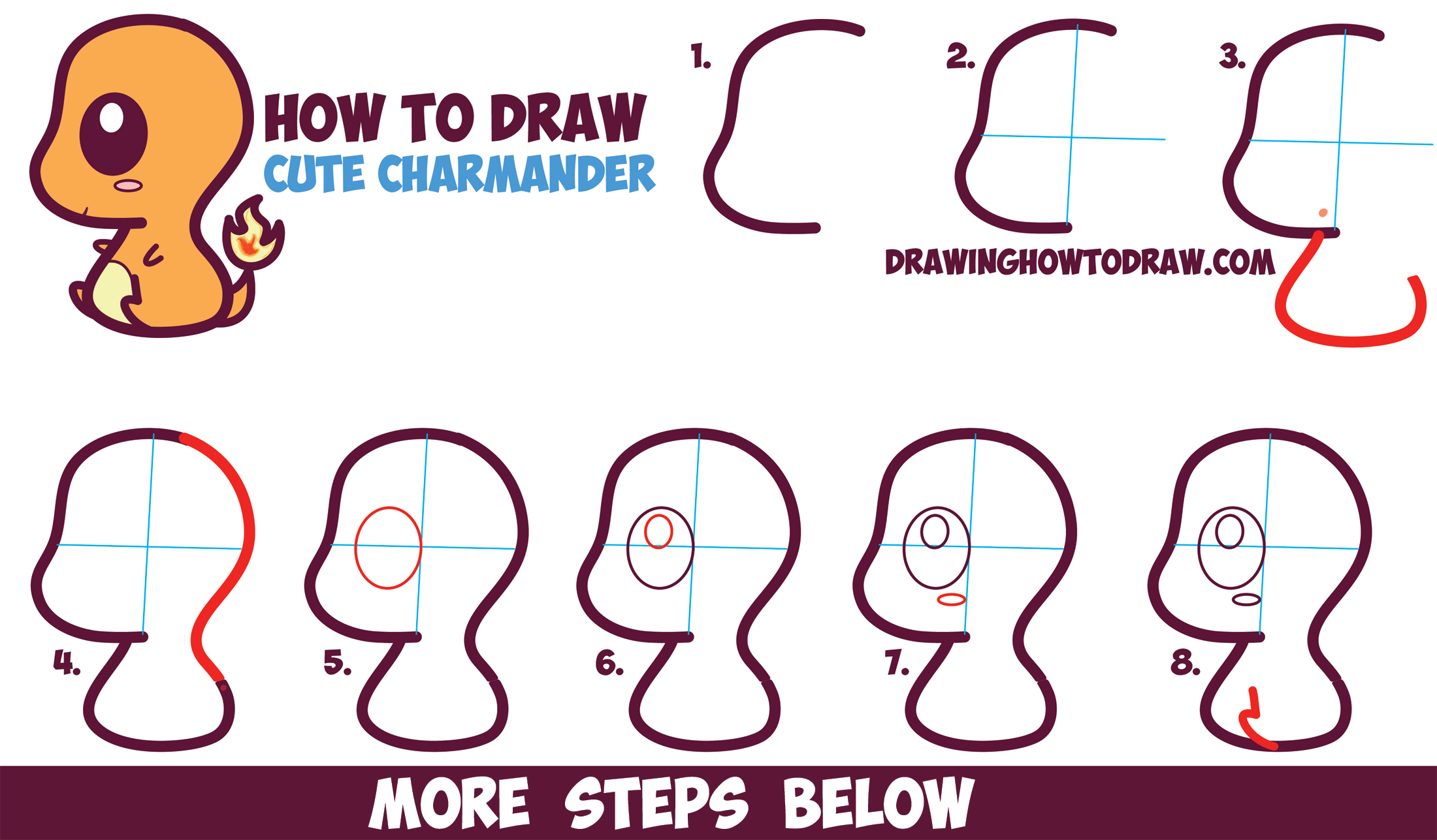 Outstanding How To Draw Cute Kawaii Chibi Charmander From Pokemon In Easy Hairstyles For Women Draintrainus