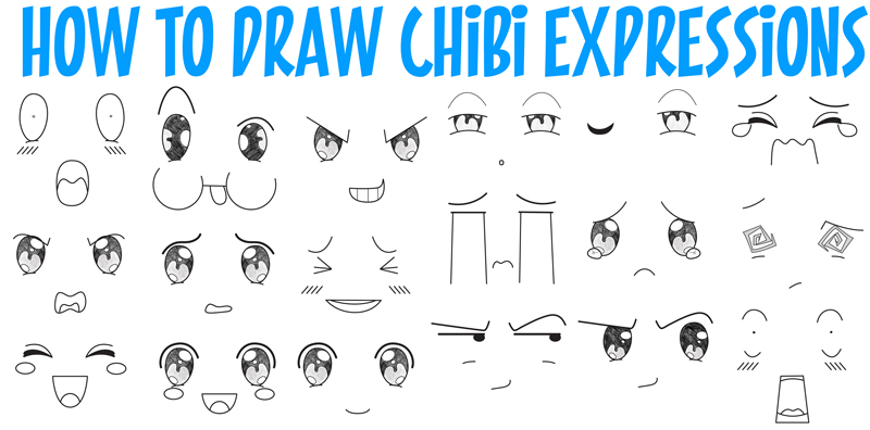 how to draw chibi emotions and expressions in easy step by
