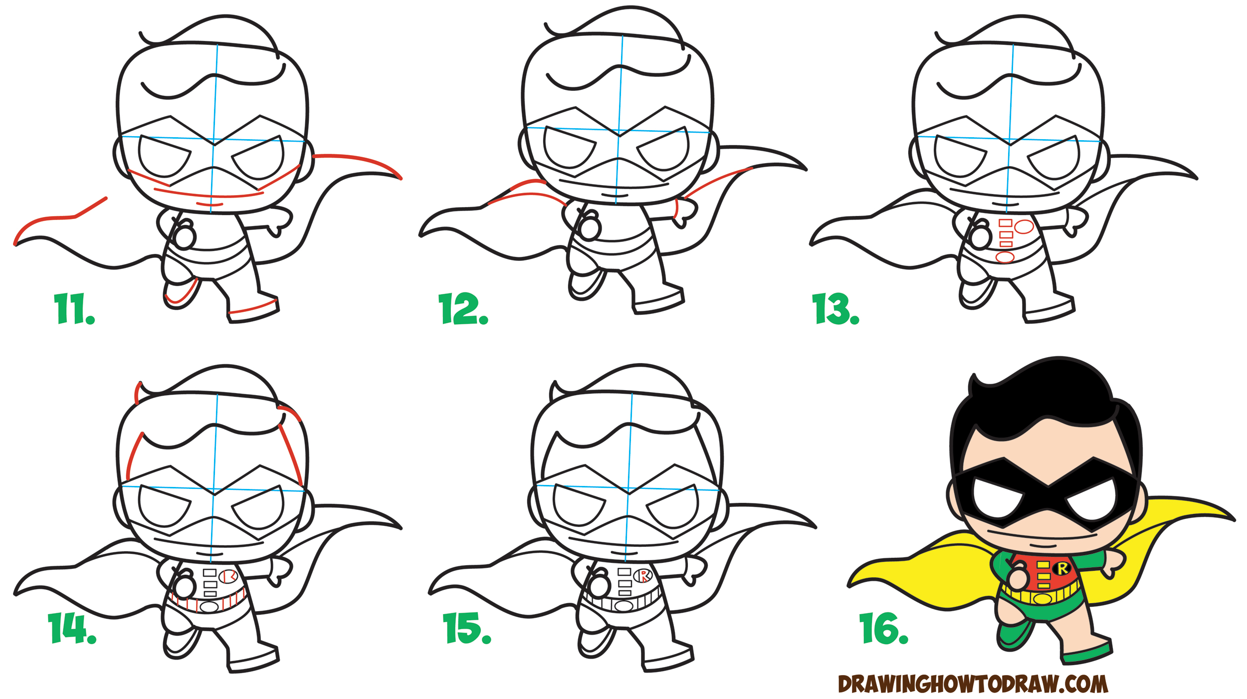 Learn How to Draw Cute / Kawaii / Chibi Robin from DC Comics' Batman & Robin in Simple Step by Step Drawing Tutorial for Kids