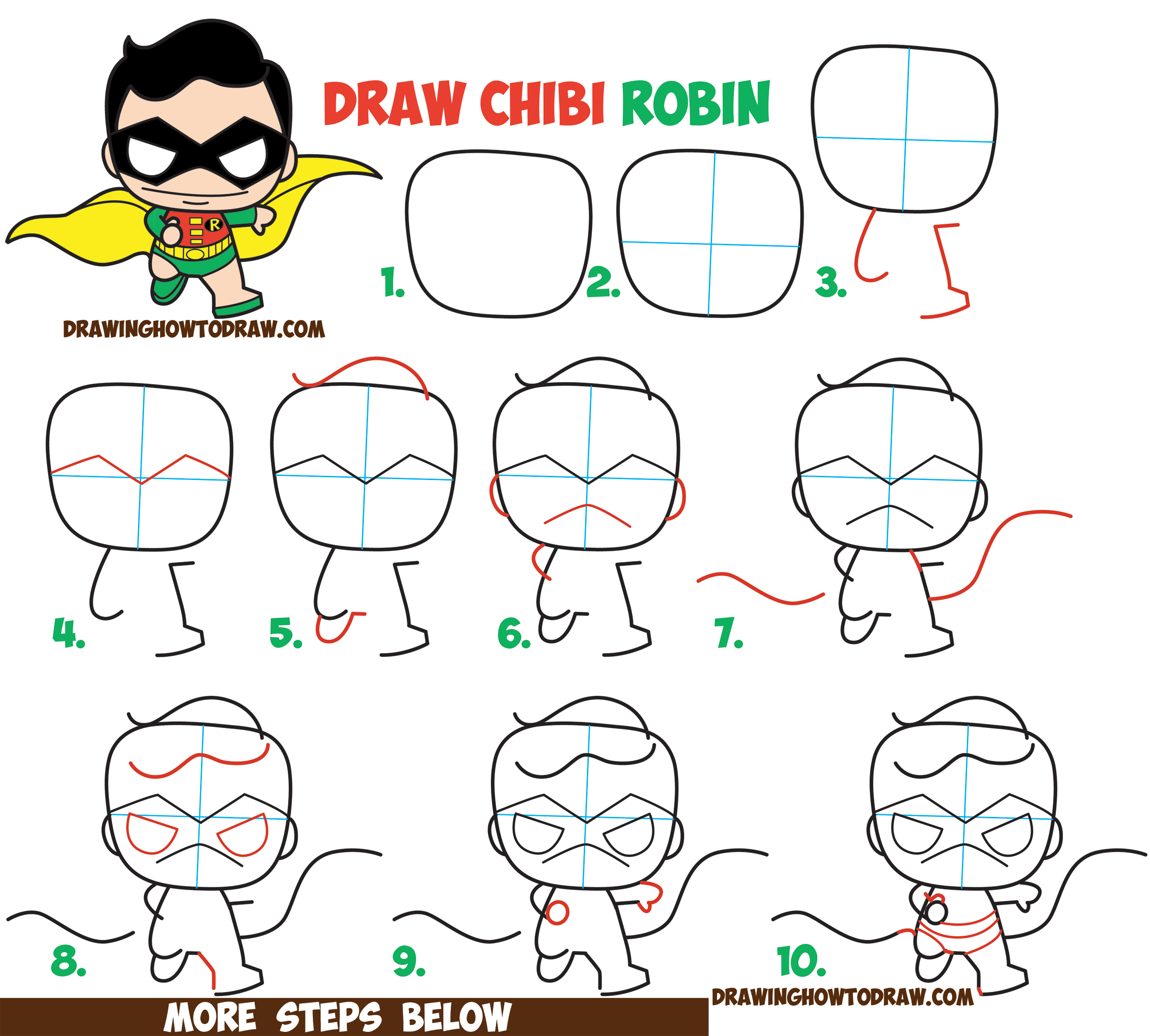 How to Draw Cute / Kawaii / Chibi Robin from DC Comics' Batman & Robin in Easy Steps Drawing Lesson for Kids