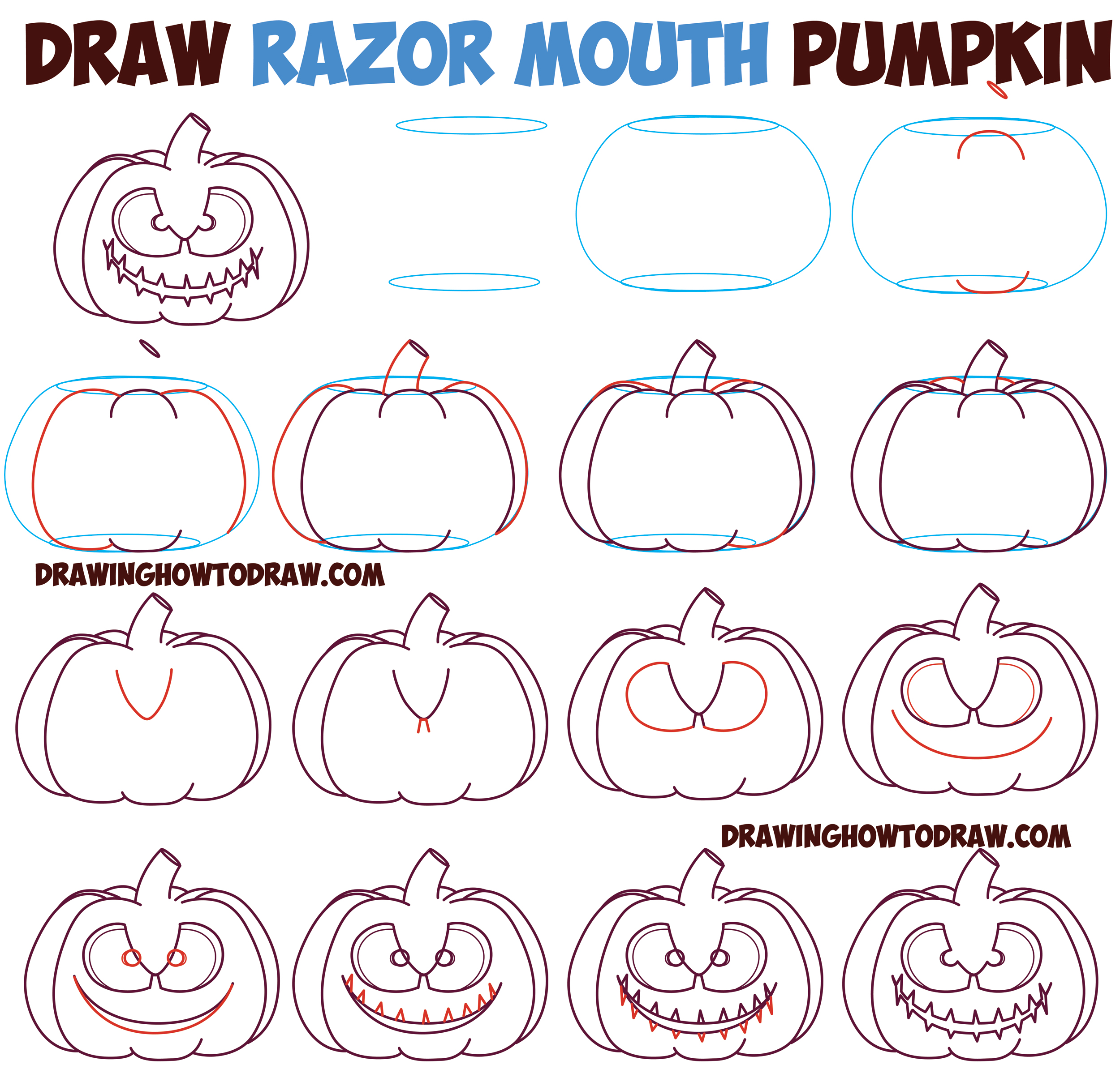 How to Draw Cartoon Pumpkin / Jack O'Lantern : Razor Mouth / Cut Mouth Evil Scary Creepy Pumpkin