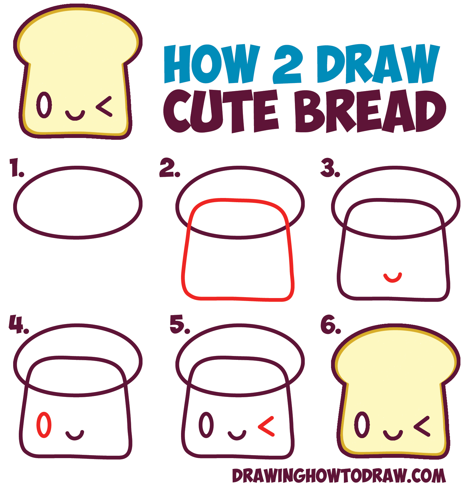 How To Draw Cute Kawaii Bread Slice With Face On It Easy Step By