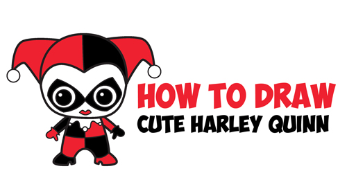 How To Draw Cute Chibi Harley Quinn From Dc Comics In Easy Step By