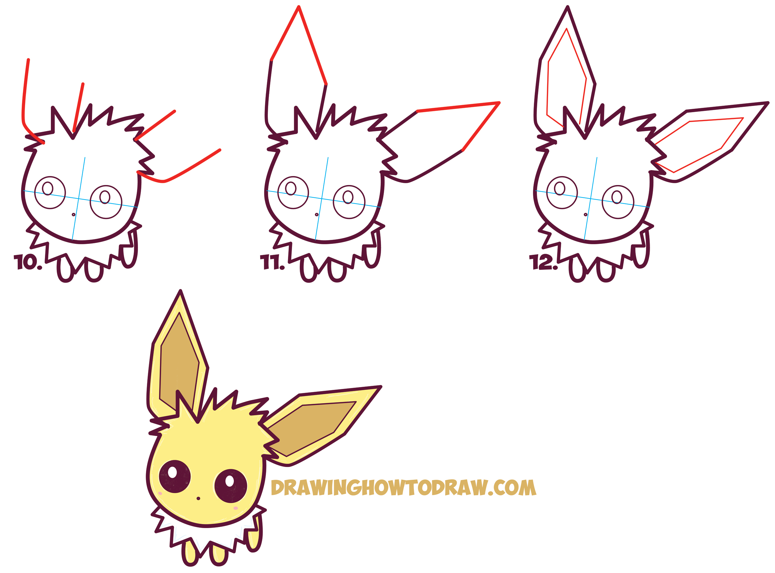 Learn How to Draw Cute / Kawaii / Chibi Jolteon from Pokemon Simple Steps Drawing Lesson for Beginners