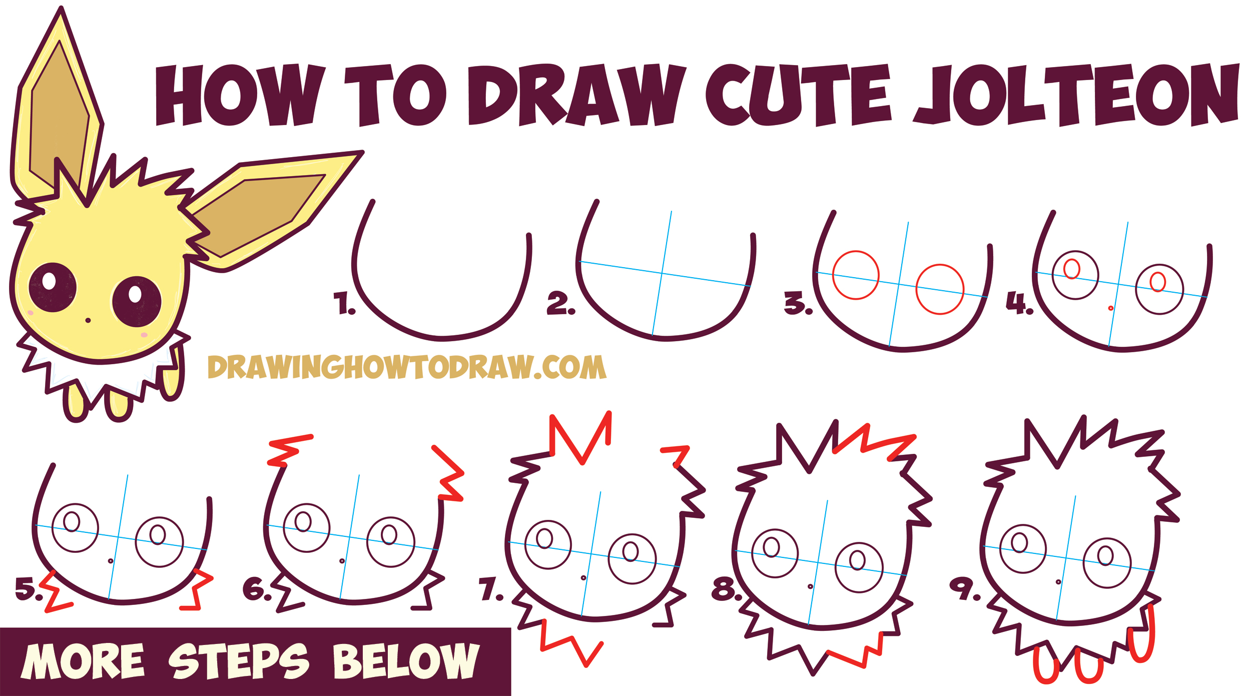 How to Draw Cute / Kawaii / Chibi Jolteon from Pokemon Easy Step by Step Drawing Tutorial for Kids