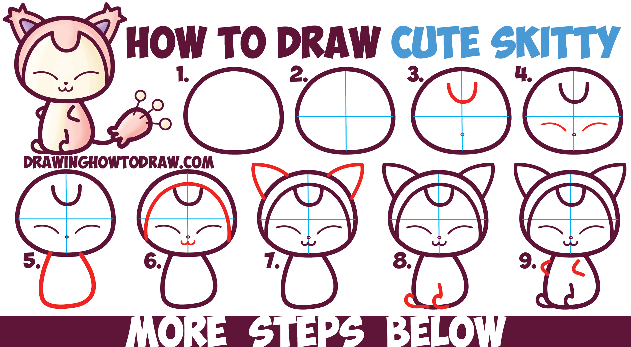 how to draw cute kawaii chibi skitty from pokemon in