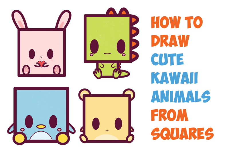 How to Draw Cute Kawaii / Chibi Cartoon Characters from the Square Shape - Easy Step by Step Drawing Tutorial for Kids