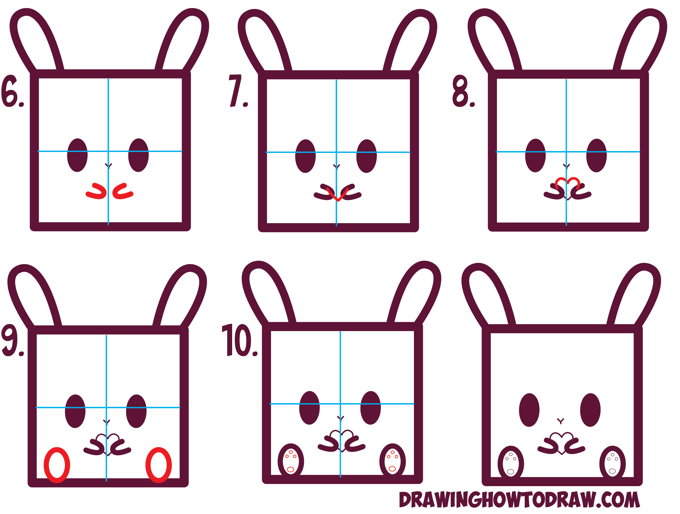Learn how to draw cute kawaii bunnies bunny from squares with simple steps drawing