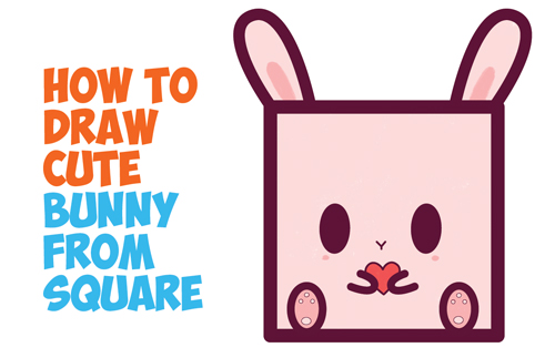 How to Draw Cute / Kawaii / Cartoon Baby Bunny Rabbit from Squares with Easy Step by Step Drawing Tutorial for Kids