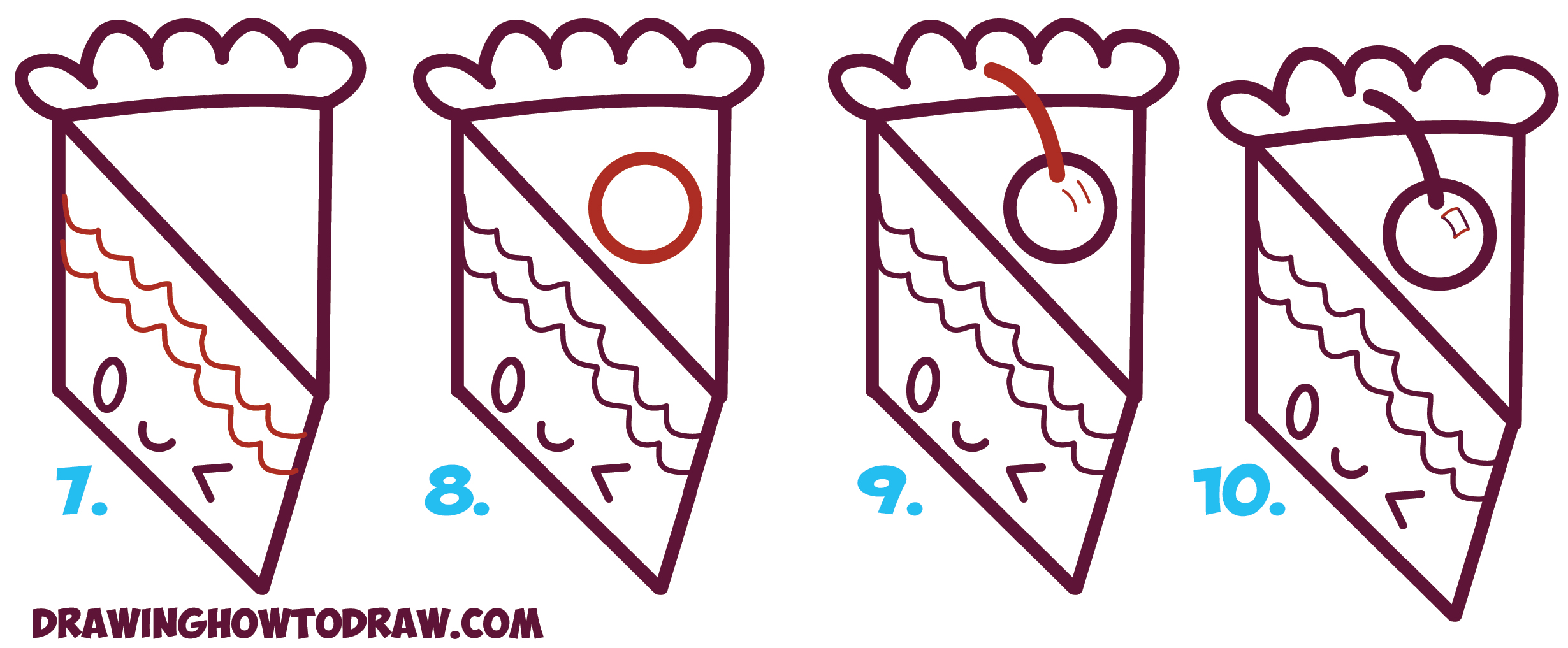 Learn How To Draw A Cute Kawaii Piece Of Cake With A Face On It From