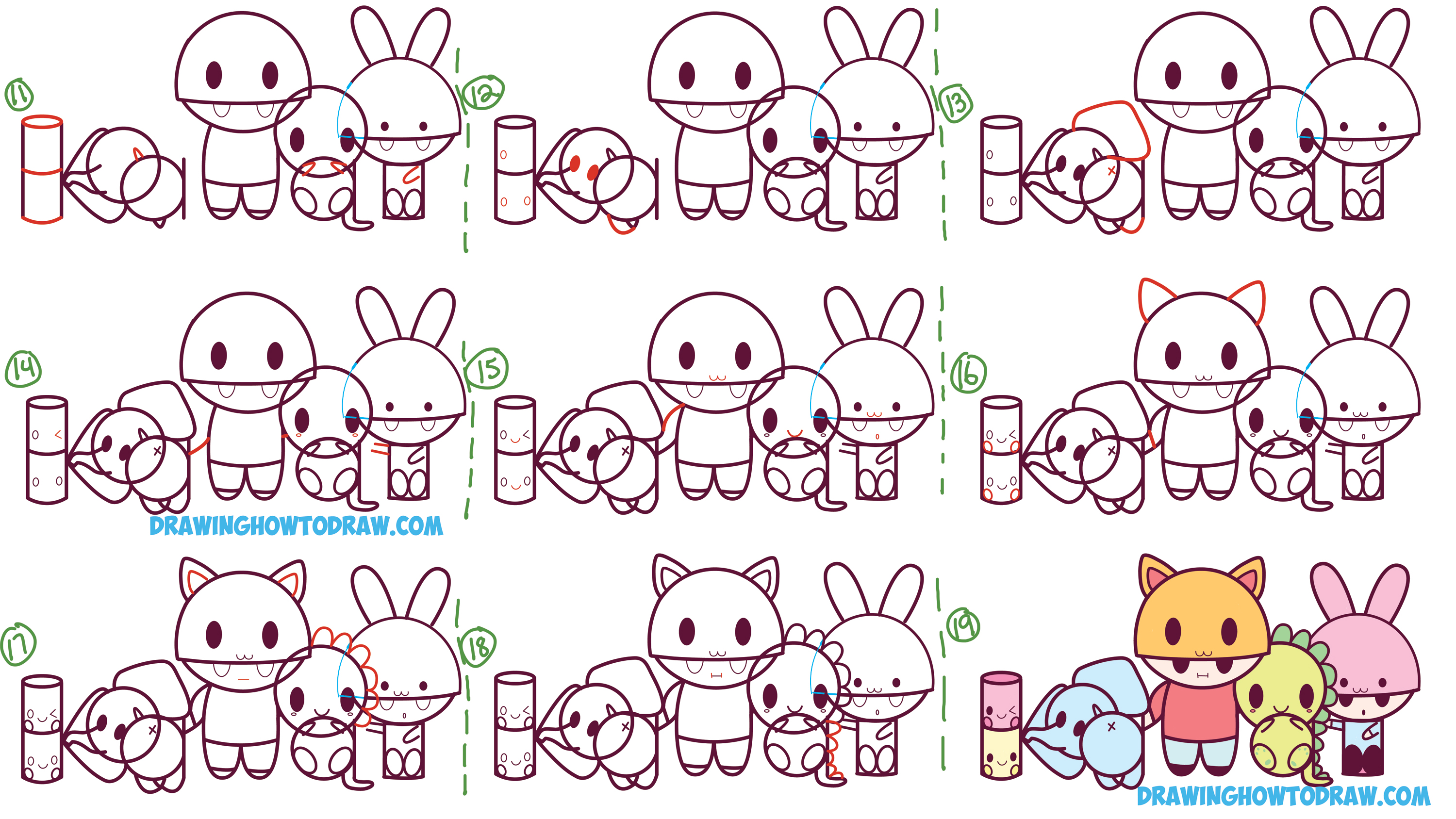 how to draw kawaii characters animals and people from