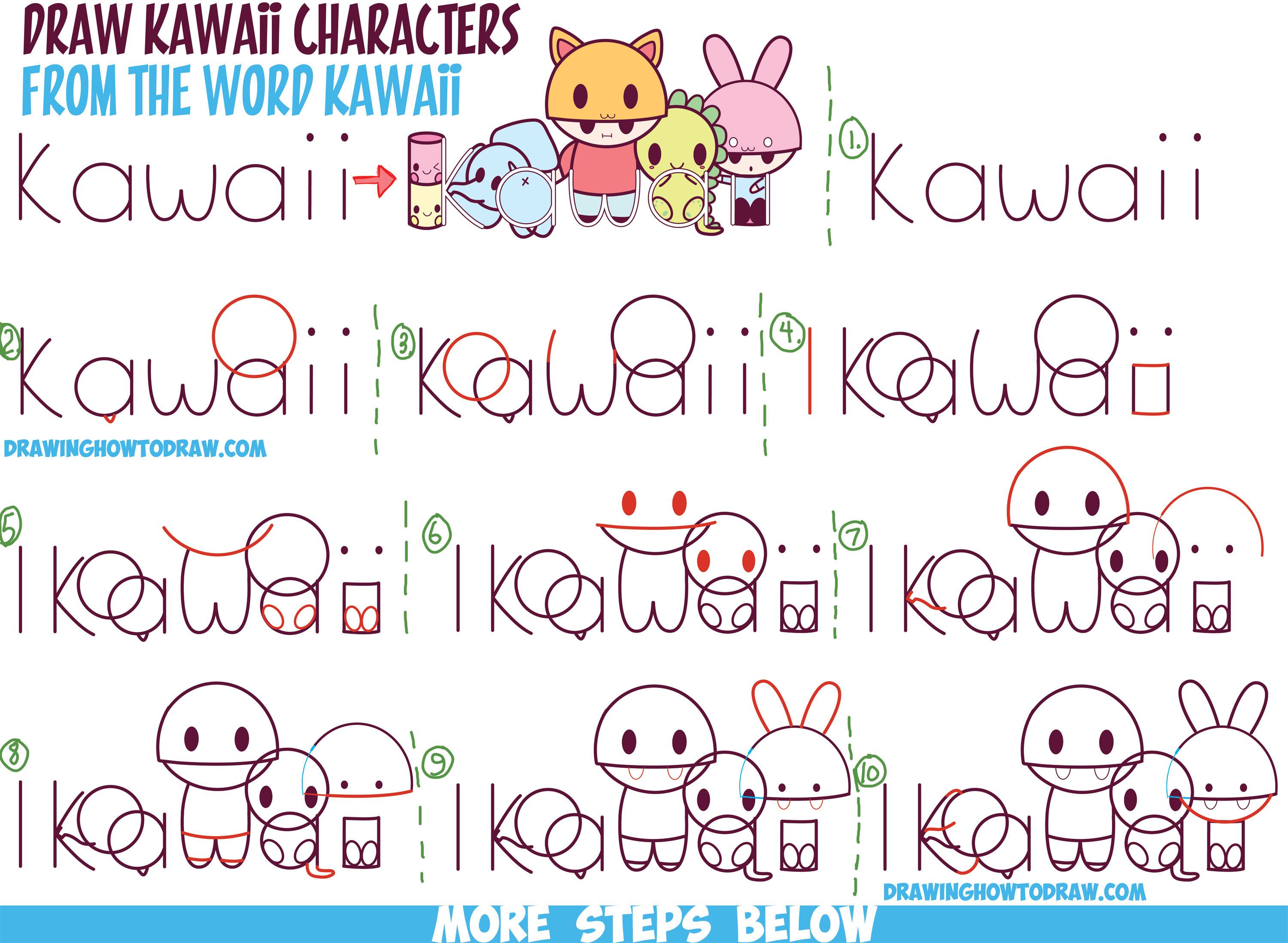 "How to Draw Kawaii Characters, Animals, and People from the Word ""Kawaii"" Easy Step by Step Drawing Tutorial for Kids"