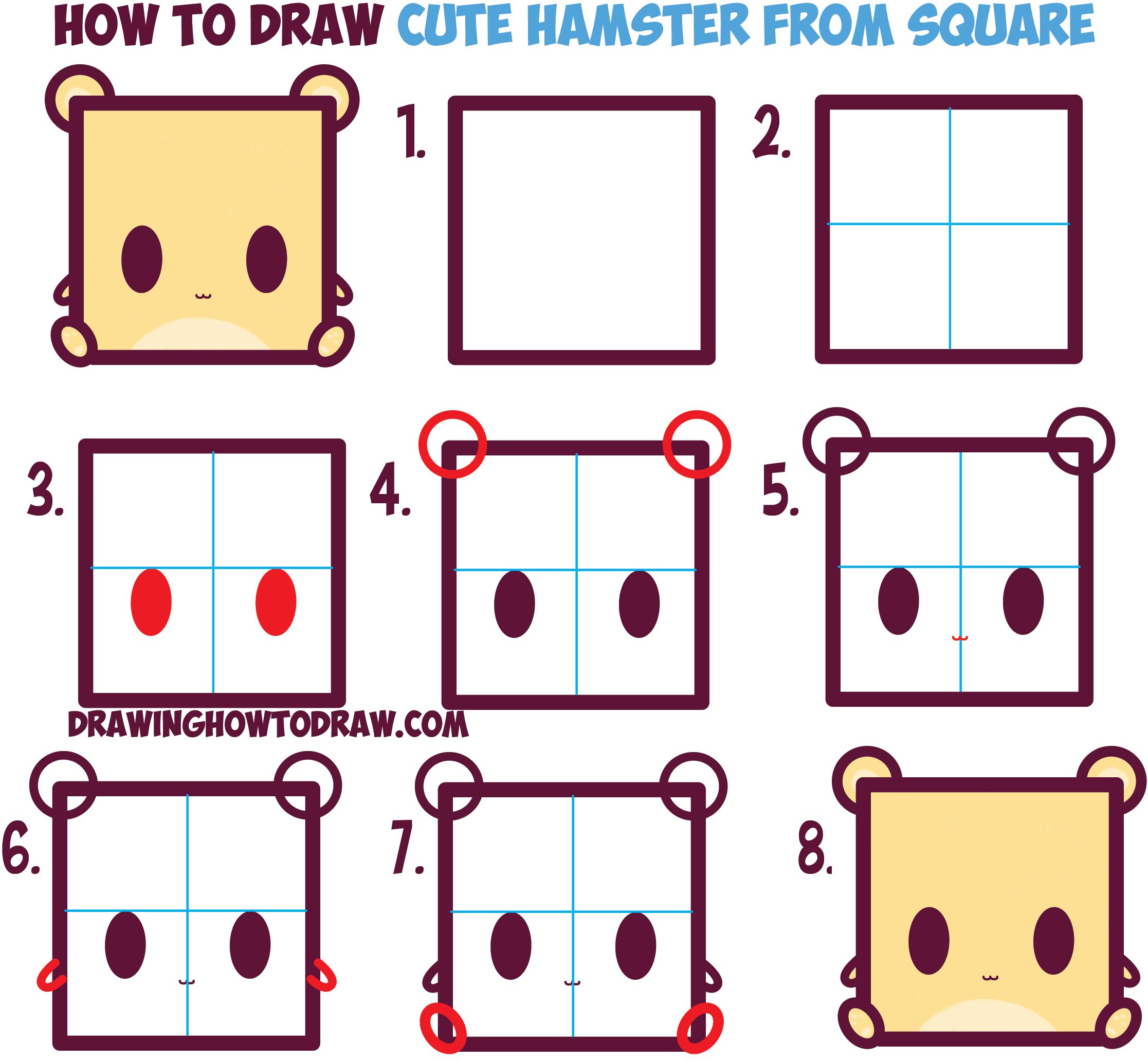 How to Draw Cute / Kawaii / Cartoon Baby Hamster from Squares with Easy Step by Step Drawing Tutorial for Kids