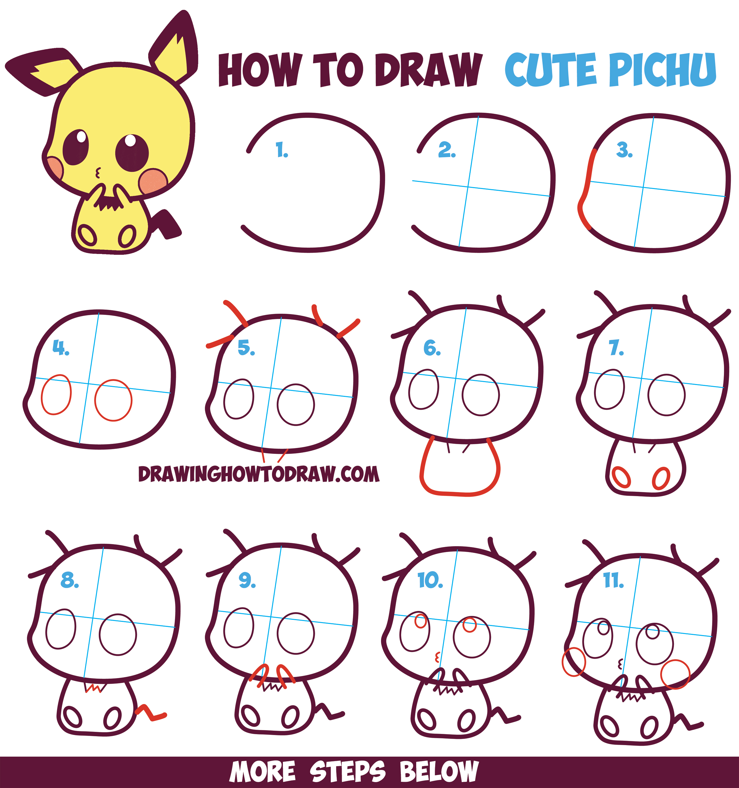 Uncategorized Drawing Lesson For Kids how to draw cute kawaii chibi pichu from pokemon in easy step by step