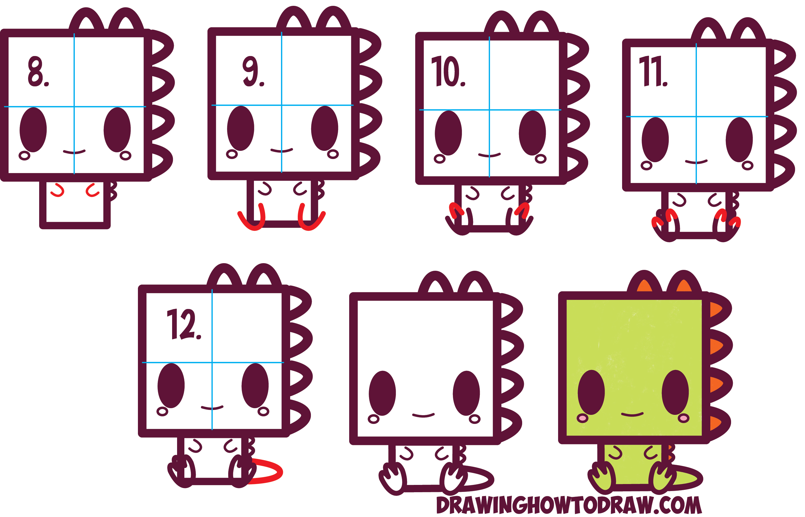 Learn How to Draw Cute / Kawaii / Cartoon Dinosaur from Squares with Simple Steps Drawing Lesson for Kids and Beginners