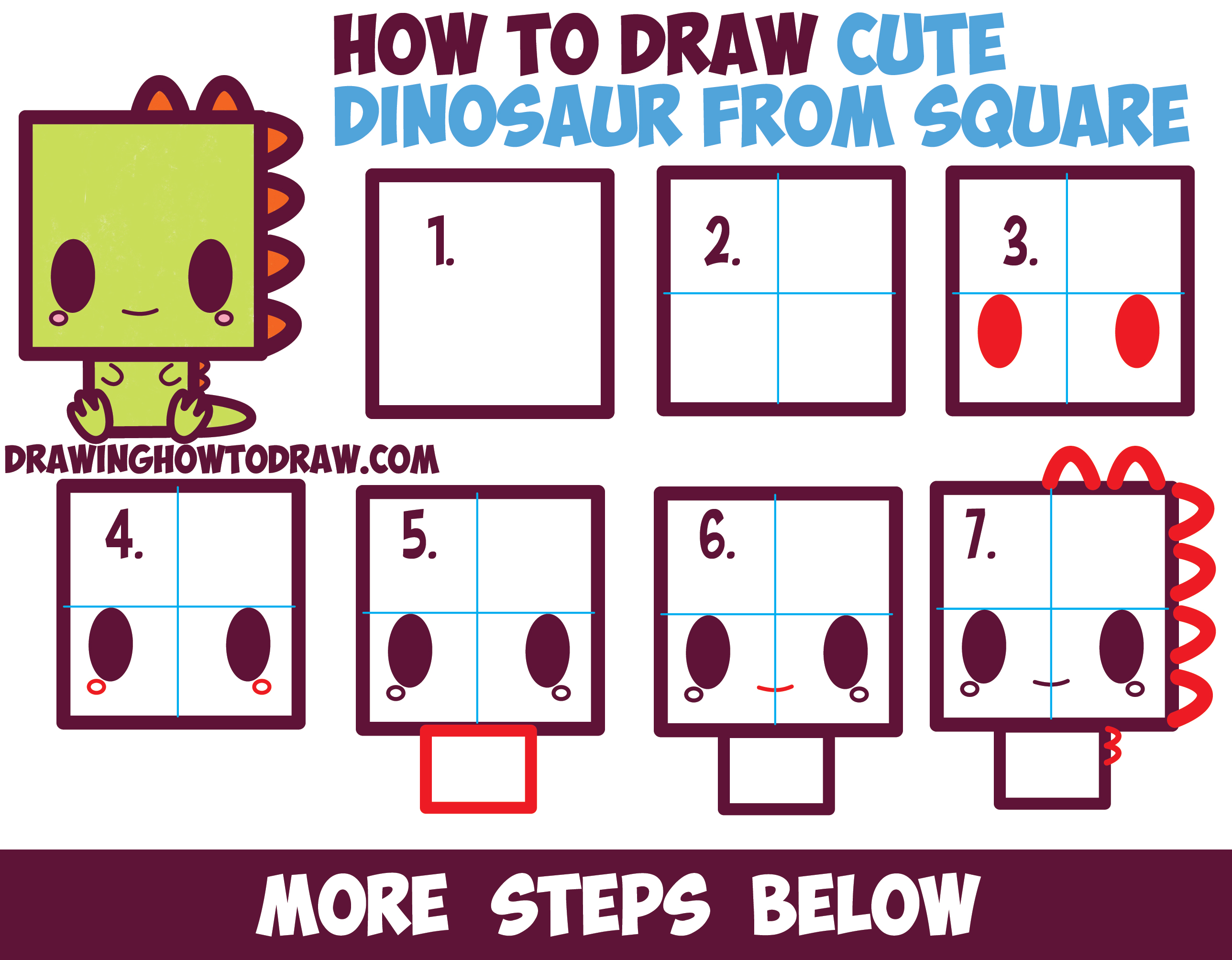 How to Draw Cute / Kawaii / Cartoon Baby Dinosaur from Squares with Easy Step by Step Drawing Tutorial for Kids