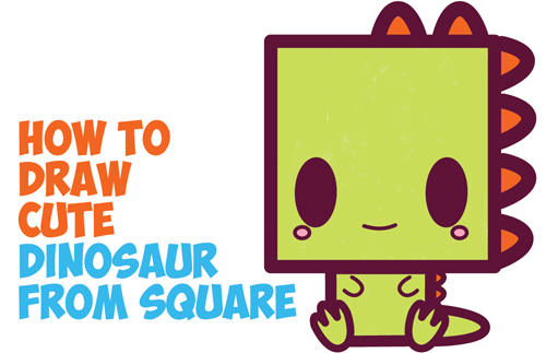 How To Draw Cute Kawaii Cartoon Baby Dinosaur From Squares With