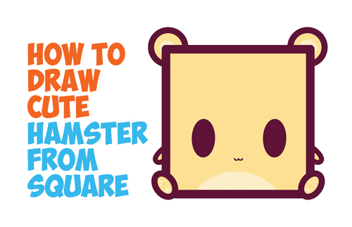 How to draw cute / kawaii / chibi / baby cartoon hamster from squares with easy step by step drawing tutorial for kids