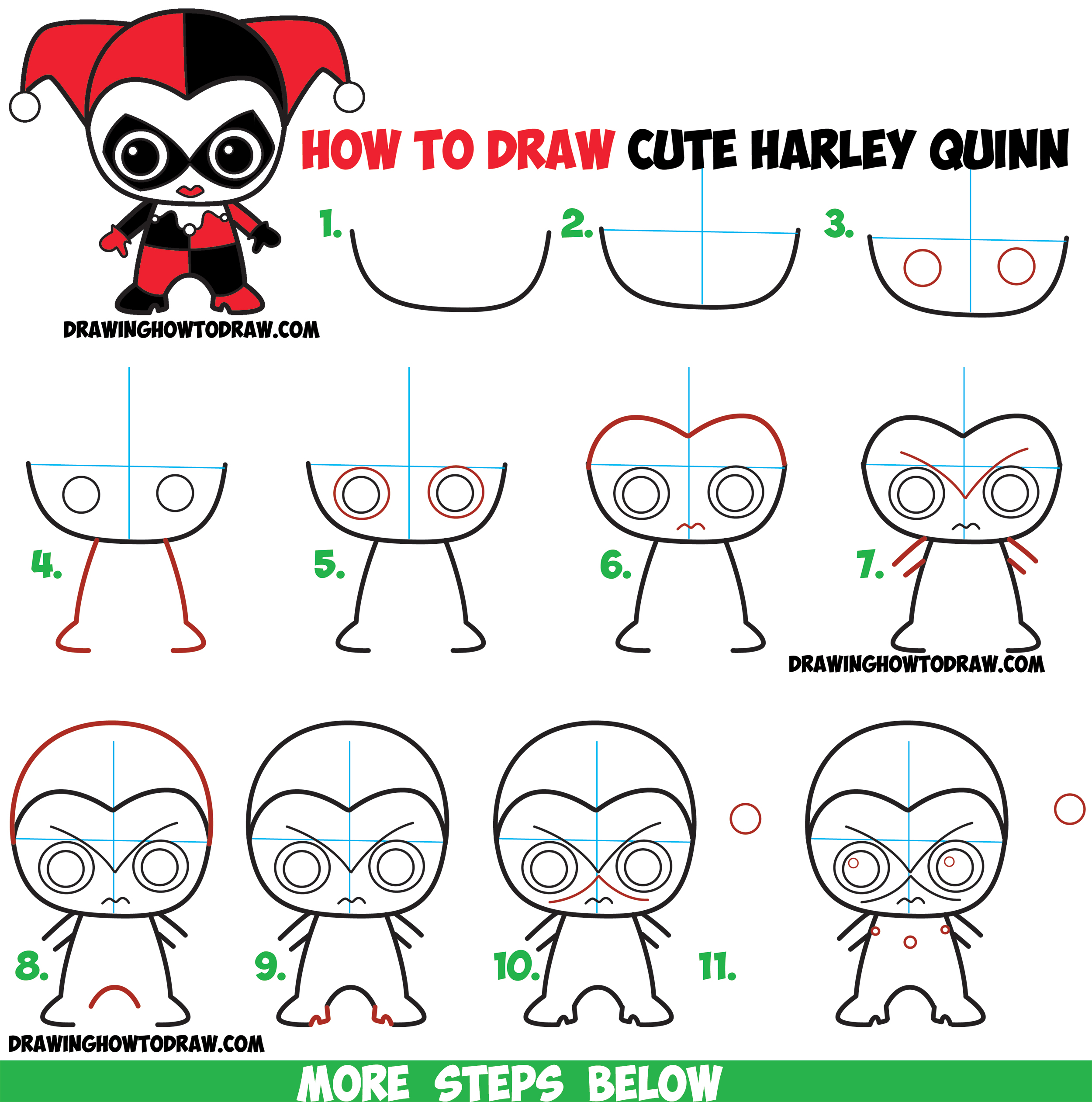 How to Draw Cute Chibi Harley Quinn from DC Comics in Easy Step by Step Drawing Tutorial for Kids & Beginners