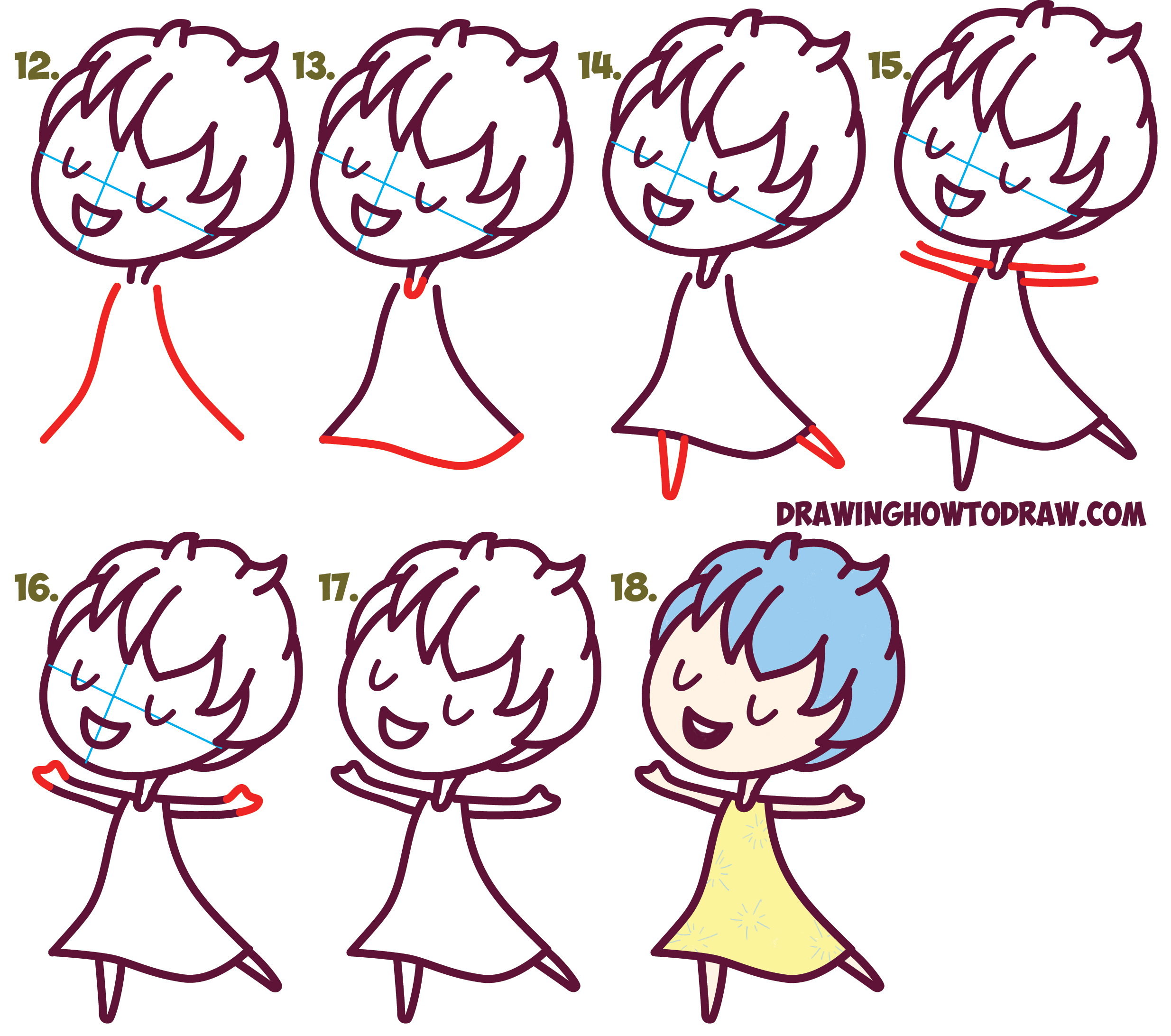 how to draw cute kawaii chibi joy from inside out easy