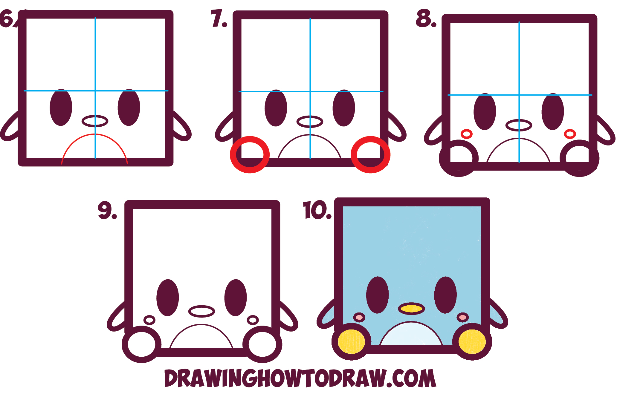Learn How to Draw Cute / Kawaii Penguins from Square Shape with Simple Steps Drawing Lesson for Kids and Beginners
