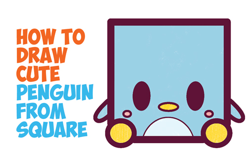 How to Draw Cute / Kawaii / Cartoon Baby Penguin from Squares with Easy Step by Step Drawing Tutorial for Kids