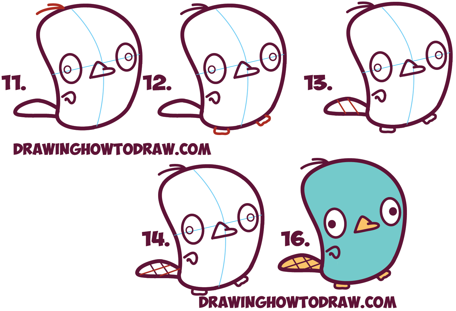 Learn How to Draw Cute Kawaii / Chibi Perry the Platypus from Phineas and Ferb in Simple Step by Step Drawing Lesson for Kids