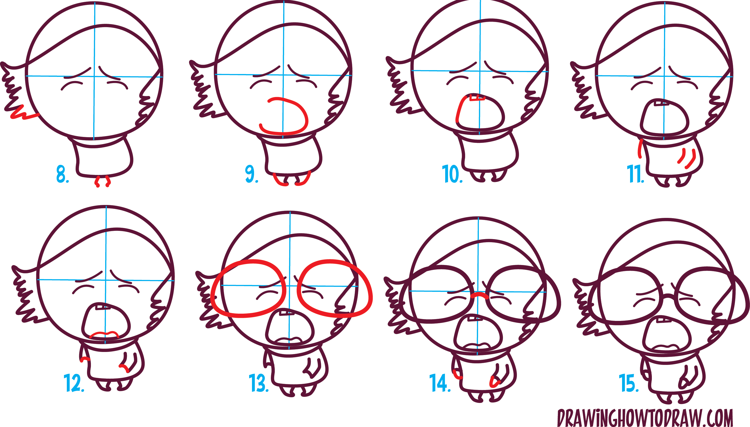 Scribble Drawing Tutorial : How to draw cute kawaii chibi sadness from inside out