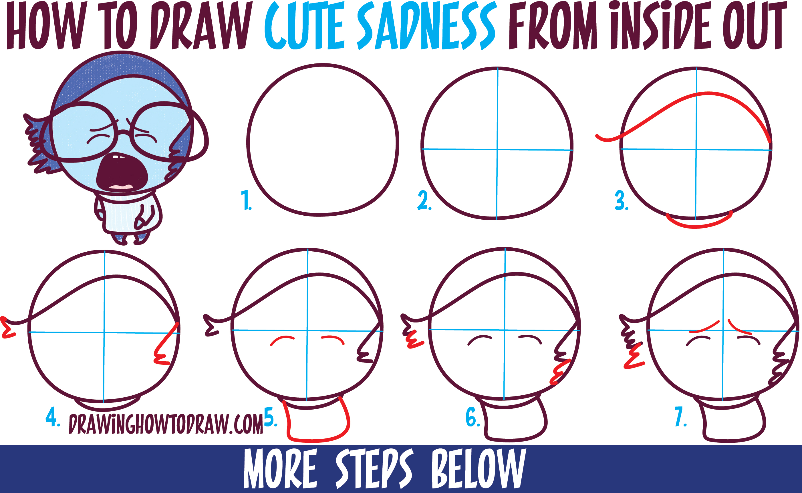 How to Draw Cute Kawaii / Chibi Sadness from Inside Out - Easy Step by Step Drawing Tutorial for Kids