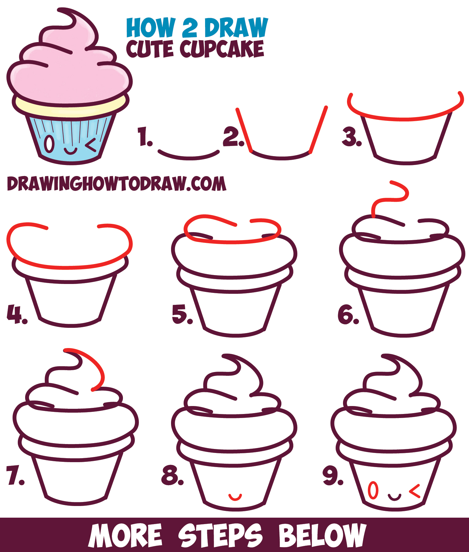 How to draw cute kawaii cupcake with face on it easy for Easy drawing websites