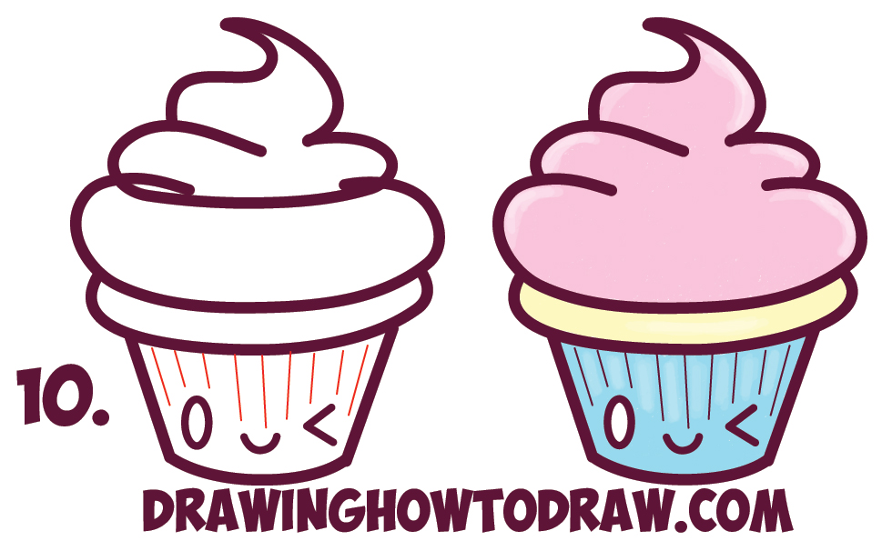 Learn How to Draw Cute Kawaii Cupcakes with Face on It - Simple Steps Drawing Lesson for Beginners