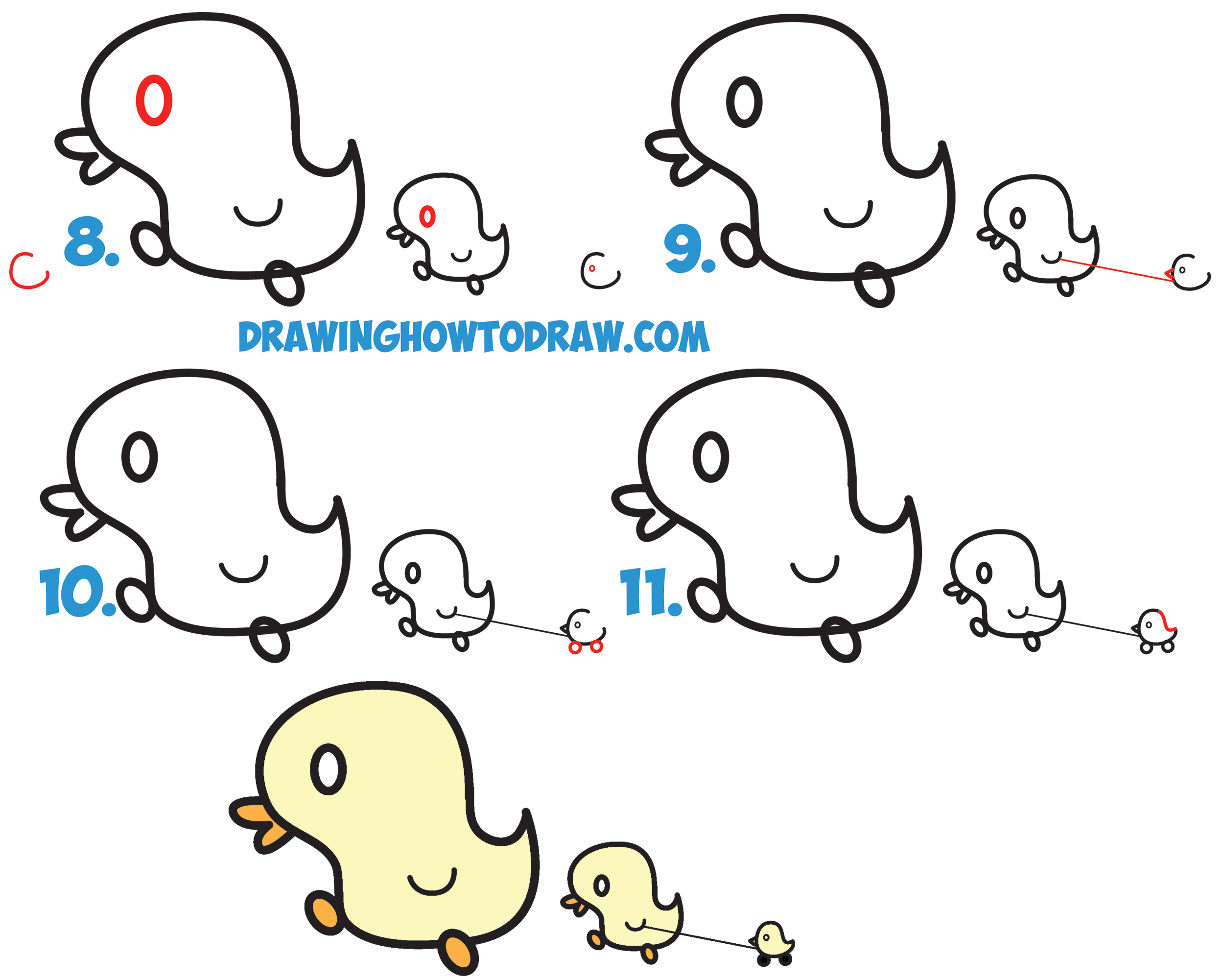 Learn How to Draw Cute Kawaii Baby Ducks / Cartoon Ducklings in Simple Steps Drawing Lesson for Kids
