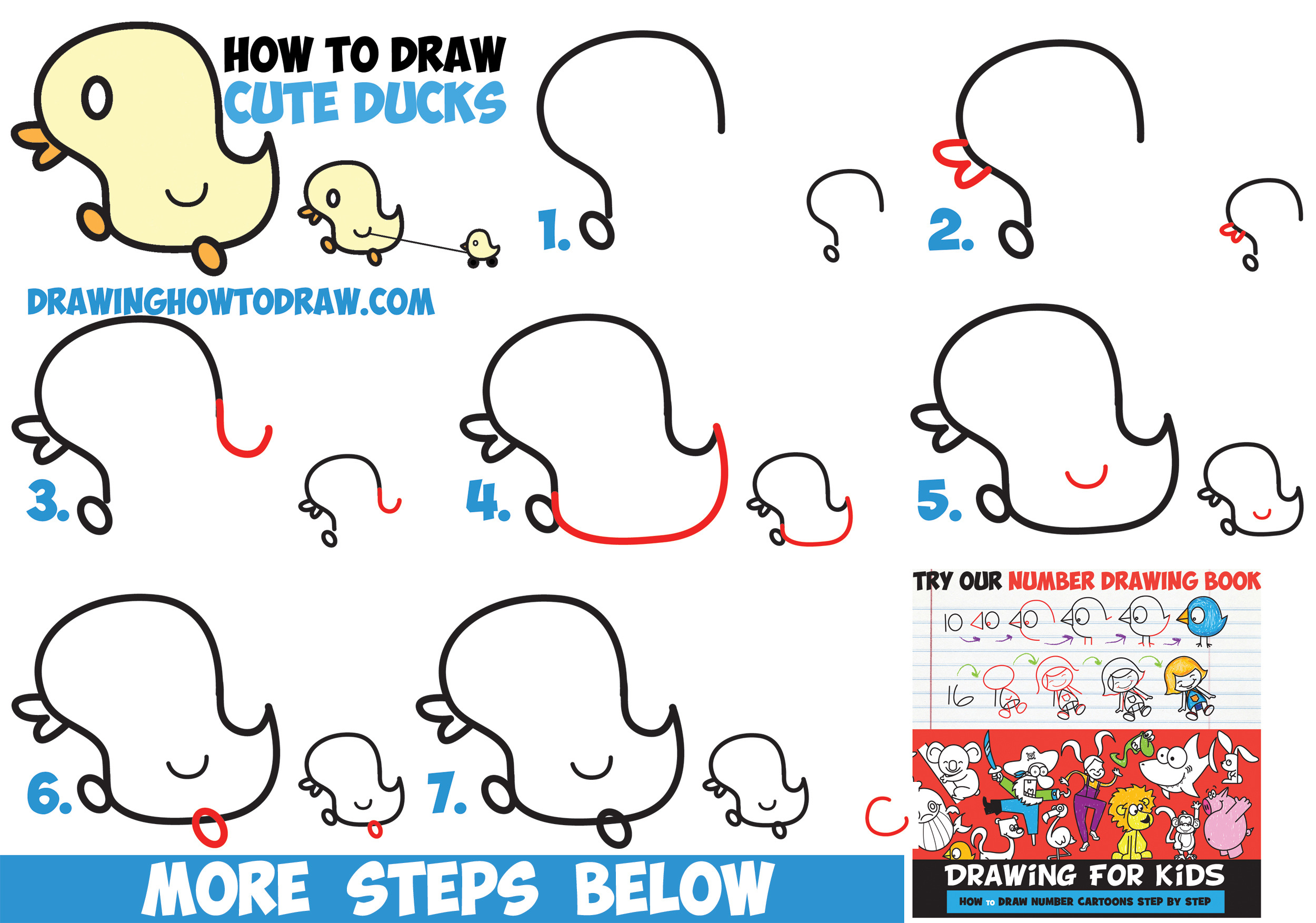How to Draw Cute Kawaii Baby Ducks / Cartoon Ducklings in Easy Step by Step Drawing Tutorial for Kids