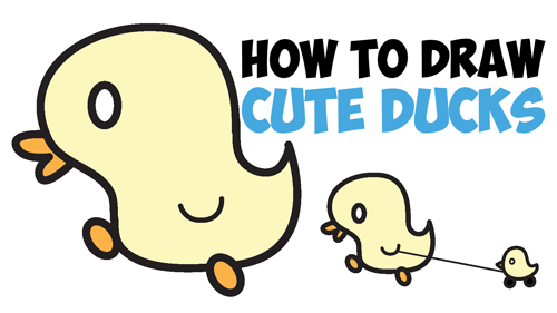 How To Draw Cute Kawaii Baby Ducks Cartoon Ducklings In Easy Step