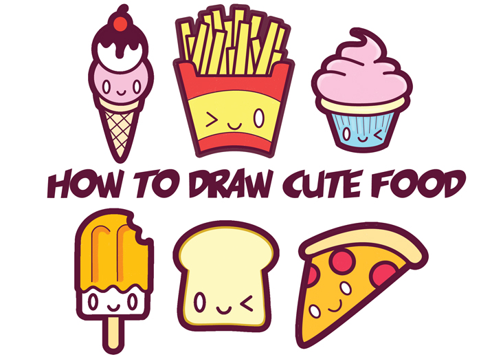 How to Draw Cute Kawaii Food - Easy Step by Step Drawing Tutorial for Kids