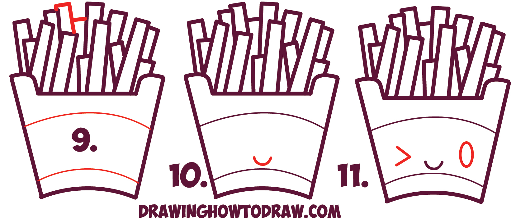 Learn How to Draw Cute Kawaii French Fries with Face on It - Simple Steps Drawing Lesson for Beginners