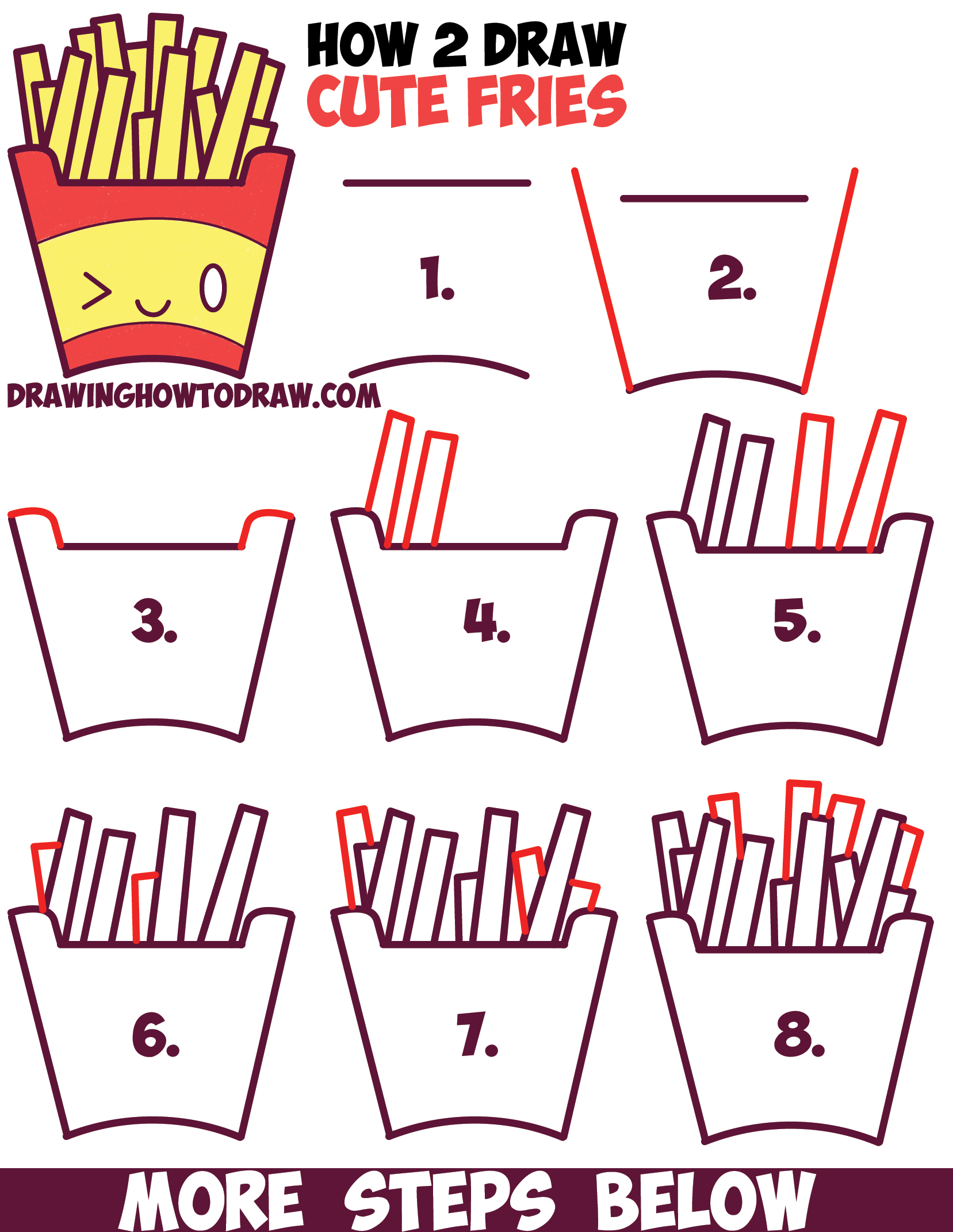 How to Draw Cute Kawaii French Fries with Face on It ...