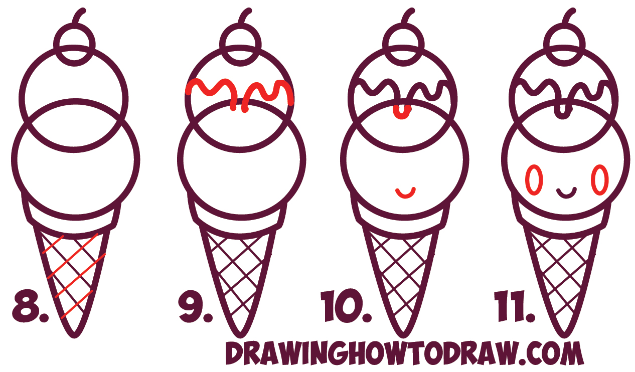 Learn How to Draw Cute Kawaii Ice Cream Sundae Cone with Face on It - Simple Steps Drawing Lesson for Beginners and Kids