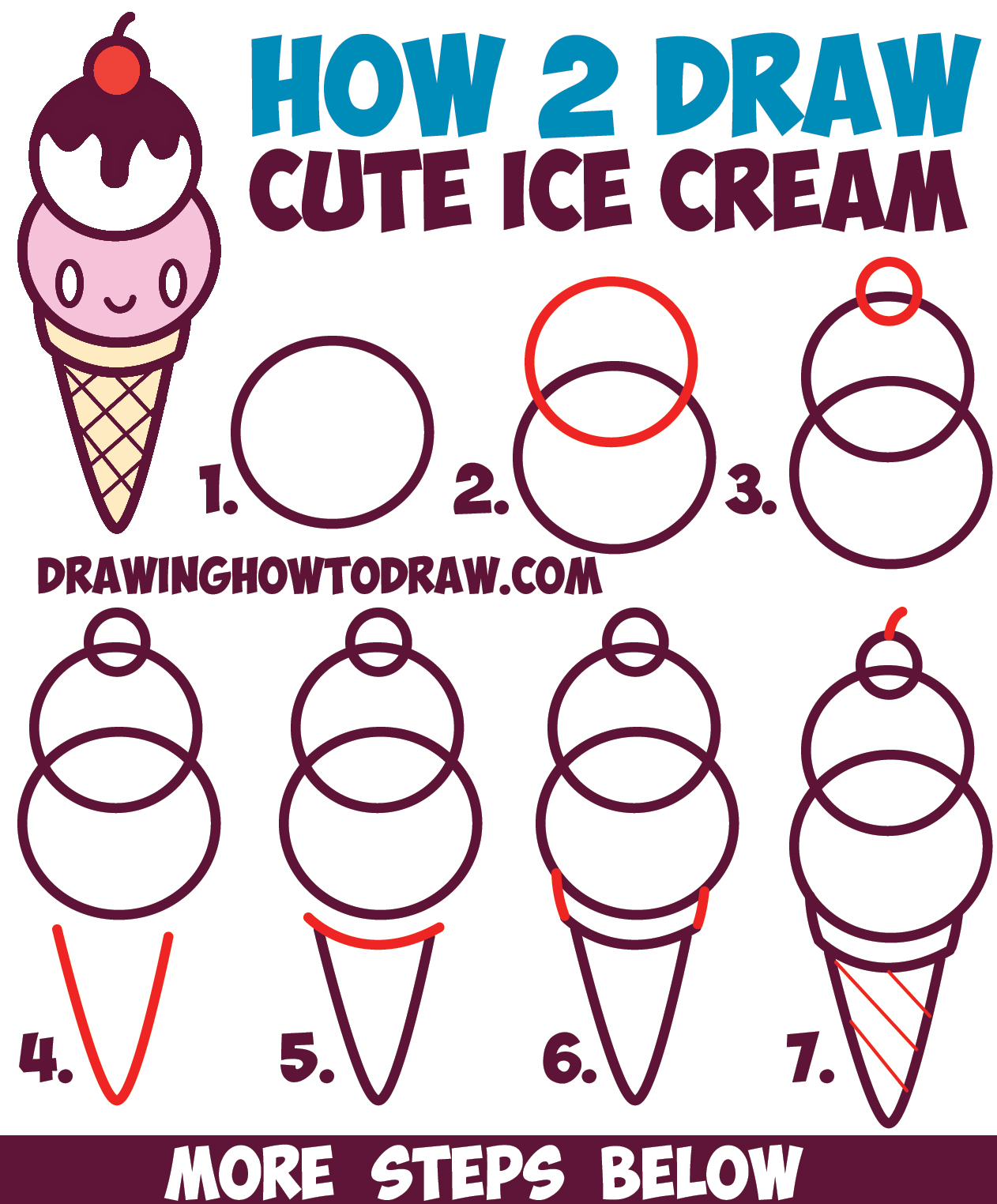 How to Draw Cute Kawaii Ice Cream Cone with Face on It - Easy Step by Step Drawing Tutorial for Kids