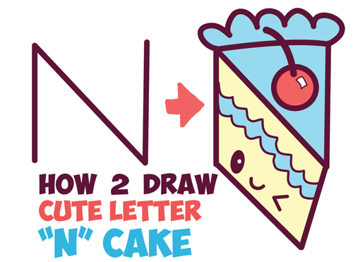 How To Draw A Cute Kawaii Piece Of Cake With A Face On It From The