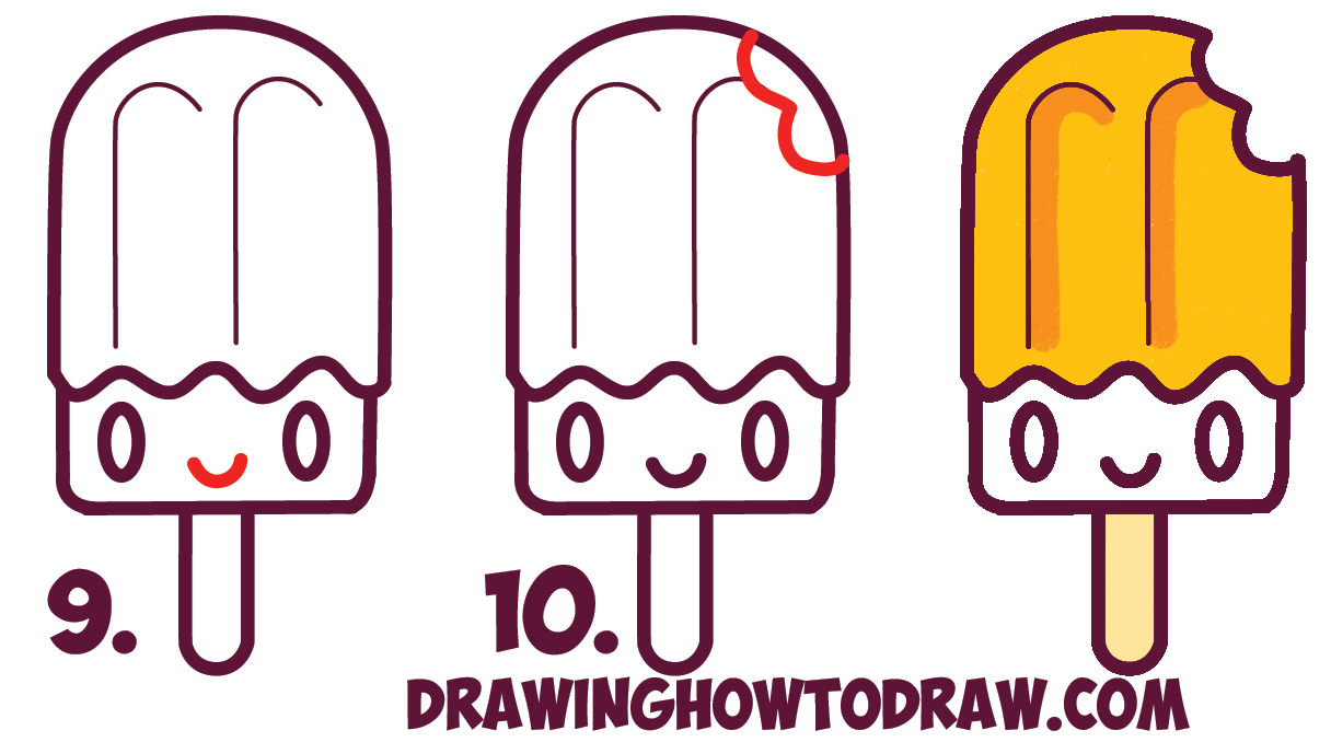 Learn How to Draw Cute Kawaii Popsicles / Creamsicles with Face on It - Simple Steps Drawing Lesson for Beginners