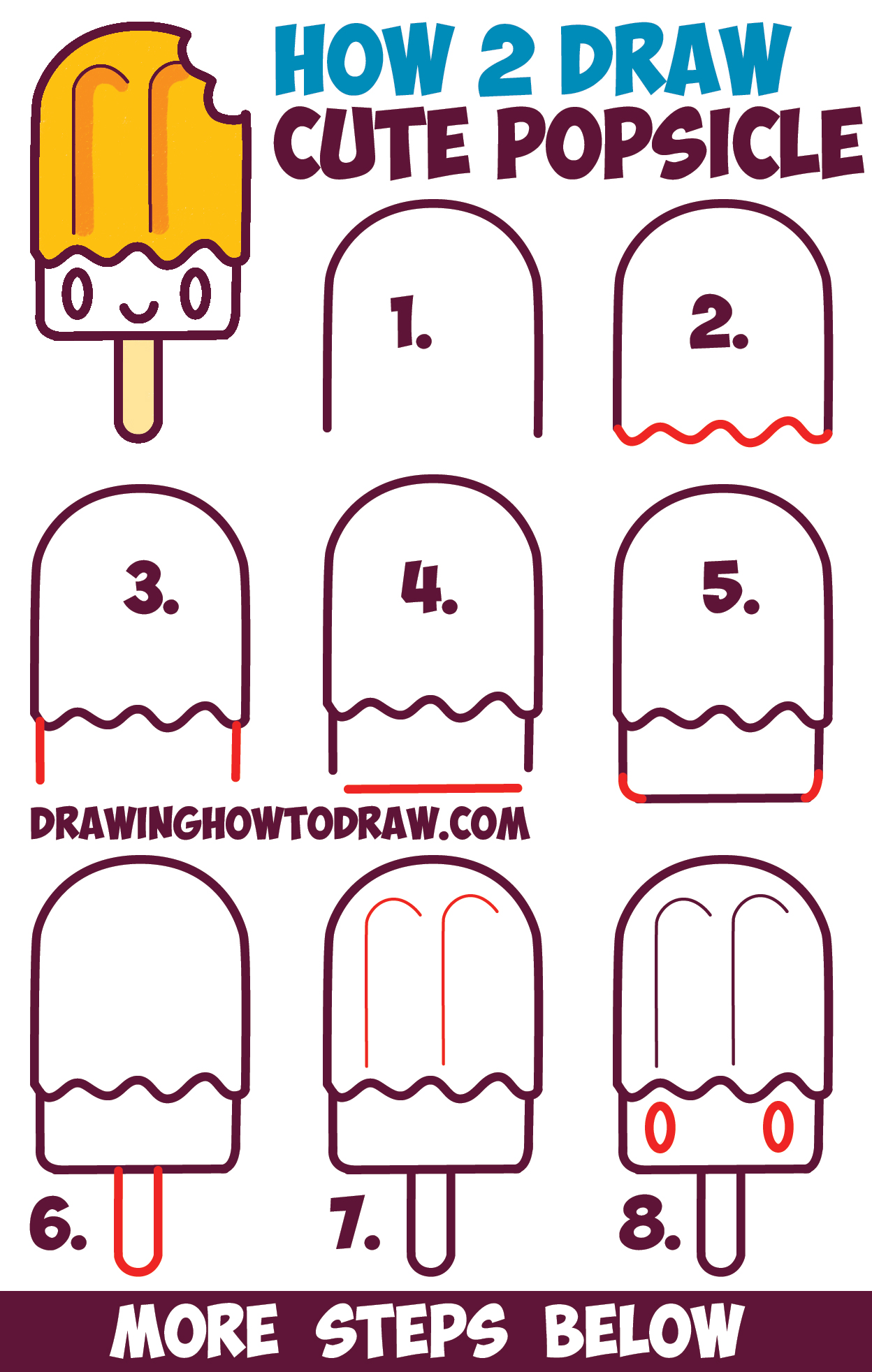 How To Draw Cute Kawaii Popsicle / Creamsicle With Face On