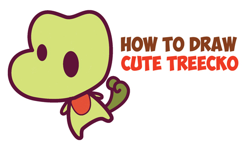 How to Draw Treecko from Pokemon (Cute / Chibi / Kawaii) Easy Step by Step Drawing Tutorial for Kids