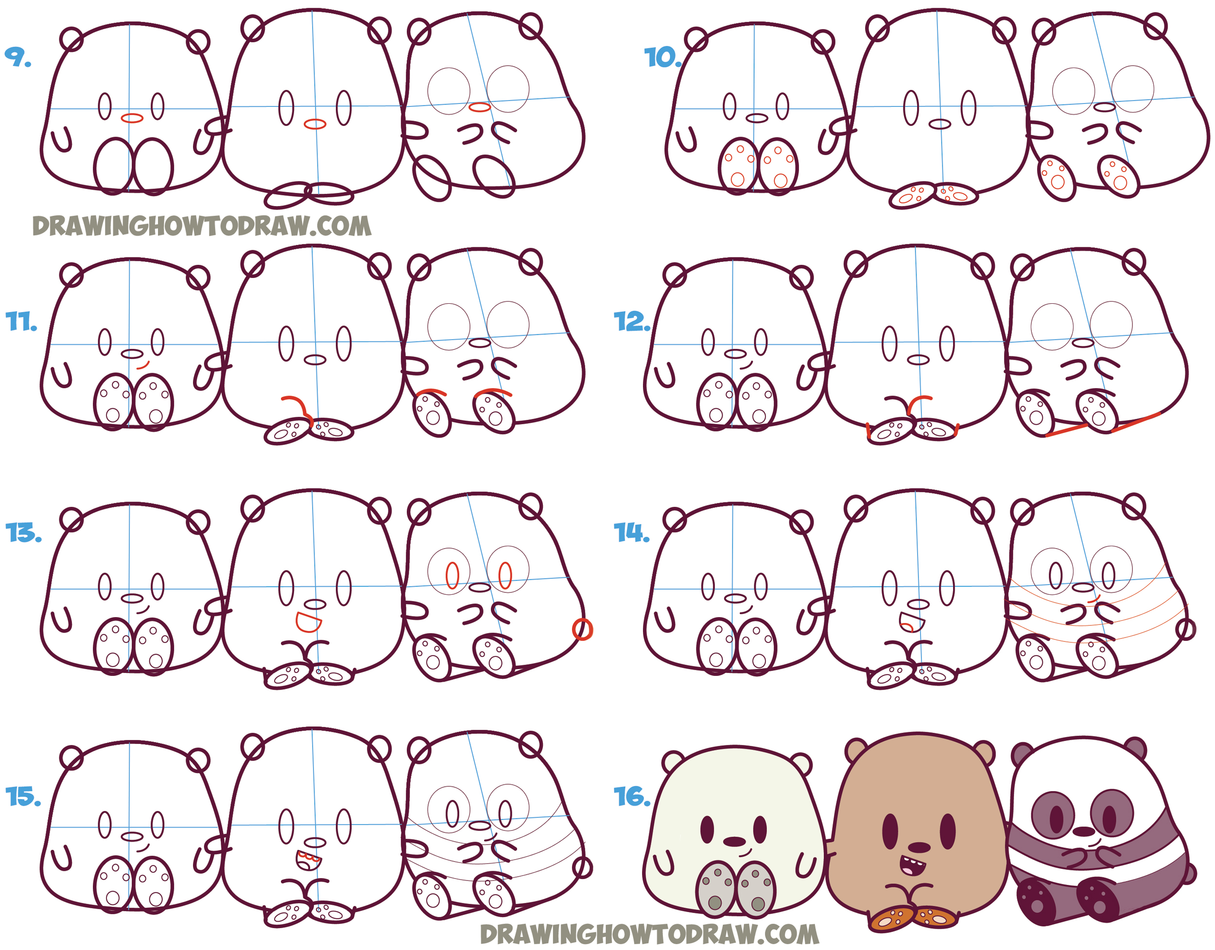 Learn How to Draw We Bare Bears (Cute / Kawaii / Chibi / Baby Style) - Grizzly, Panda, and Ice Bear - in Simple Step by Step Drawing Lesson