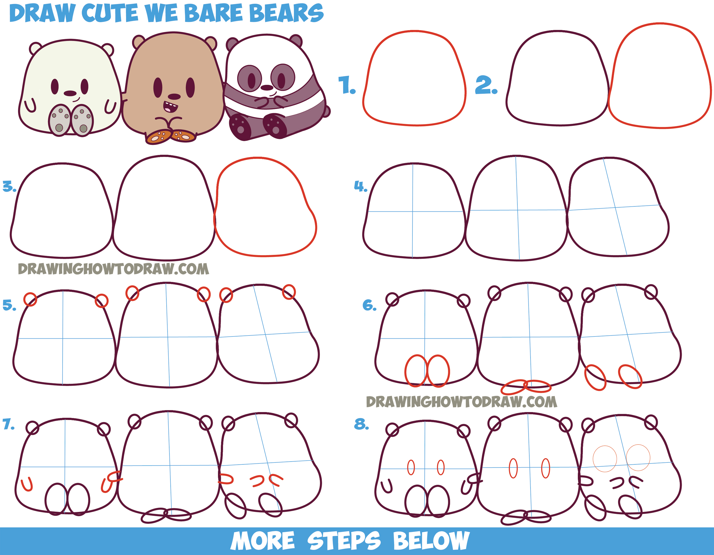 we bare bears coloring pages - how to draw we bare bears cute kawaii chibi baby